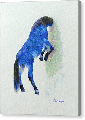 Walled Blue Horse - Leonid Afremov Style - Pa Canvas Print by Leonardo Digenio