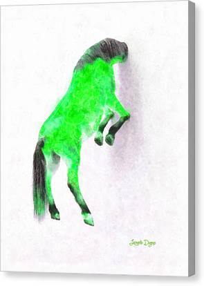 White Horse Canvas Print - Walled Green Horse - Pa by Leonardo Digenio