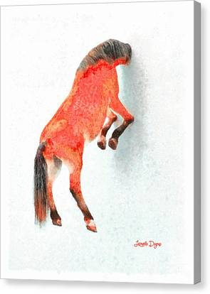 Walled Red Horse - Da Canvas Print by Leonardo Digenio