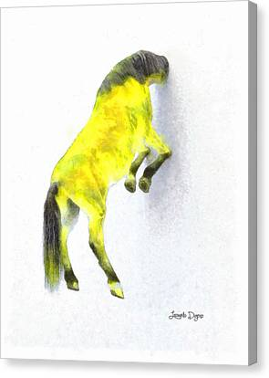 Walled Yellow Horse - Da Canvas Print by Leonardo Digenio