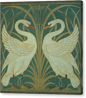 Wallpaper Design For Panel Of Swan Rush And Iris Canvas Print by Walter Crane