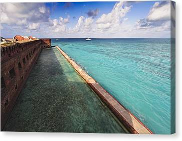 Walls And Moat Of  Fort Jefferson Canvas Print by George Oze