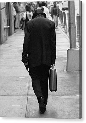 Canvas Print featuring the photograph Wall Street Man by Dave Beckerman