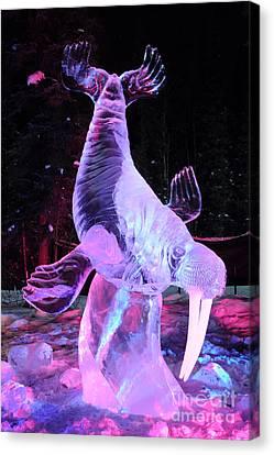Walrus Ice Art Sculpture - Alaska Canvas Print by Gary Whitton
