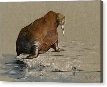 Walrus On Ice Canvas Print by Juan  Bosco