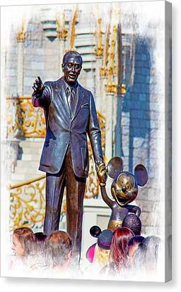 Canvas Print featuring the photograph Walt And Mickey by Mark Andrew Thomas