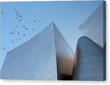 Canvas Print featuring the photograph Walt Disney Concert Hall Los Angeles California Architecture Abstract by Ram Vasudev
