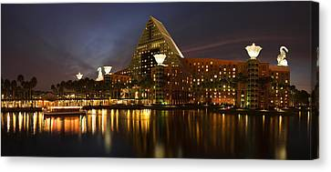 Walt Disney Dolphin At Twilight Canvas Print by Andrew Soundarajan