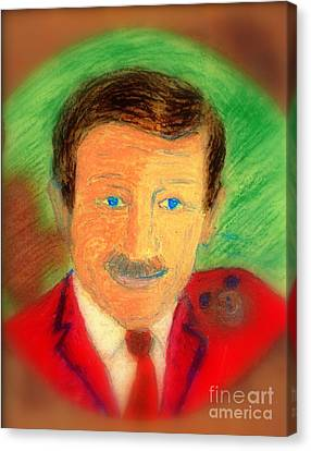 Canvas Print featuring the painting Walt Disney It's In The Ears by Richard W Linford