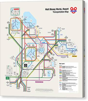 Monorail Canvas Print - Walt Disney World Resort Transportation Map by Arthur De Wolf