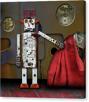 Walter Has A Surprise Canvas Print by Joan Ladendorf
