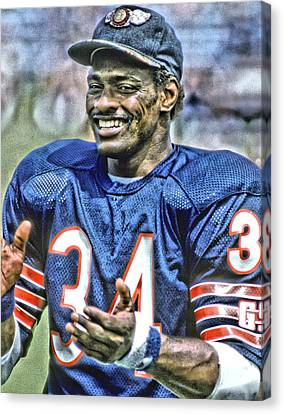Walter Payton Canvas Print - Walter Payton Chicago Bears Art3 by Joe Hamilton