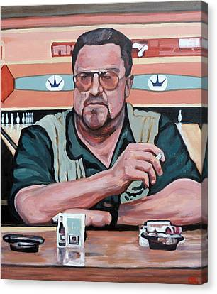 Canvas Print featuring the painting Walter Sobchak by Tom Roderick