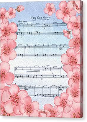 Waltz Of The Flowers Dancing Pink Canvas Print by Irina Sztukowski