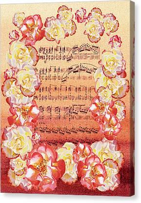 Waltz Of The Flowers Dancing Roses Canvas Print by Irina Sztukowski