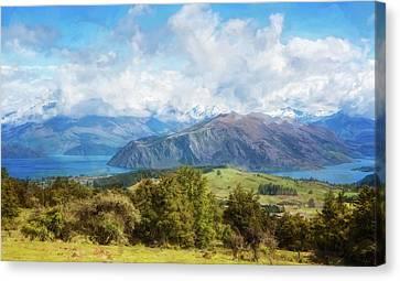 Wanaka New Zealand Painterly Canvas Print by Joan Carroll