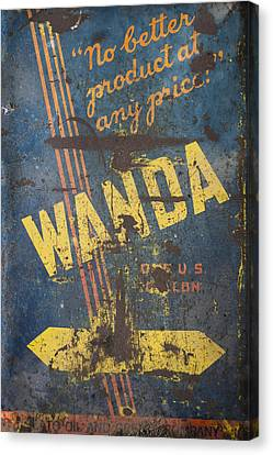 Wanda Motor Oil Vintage Sign Canvas Print by Christina Lihani