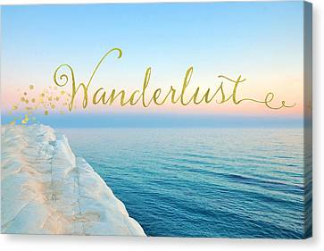 Wanderlust, Santorini Greece Ocean Coastal Sentiment Art Canvas Print by Tina Lavoie