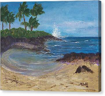 Canvas Print featuring the painting Wanna Go by Margaret Bobb