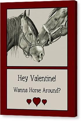 Wanna Horse Around Valentine Canvas Print by Joyce Geleynse