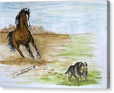 Animal Artist Canvas Print - Wanna Play by Daniele Trottier