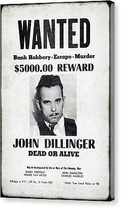 Wanted John Dillinger 1934 Canvas Print by Daniel Hagerman