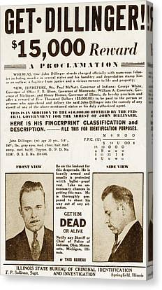 Wanted Poster For John Dillinger Canvas Print by Everett