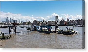Canvas Print featuring the photograph Wapping River Police Waterloo Pier by Gary Eason