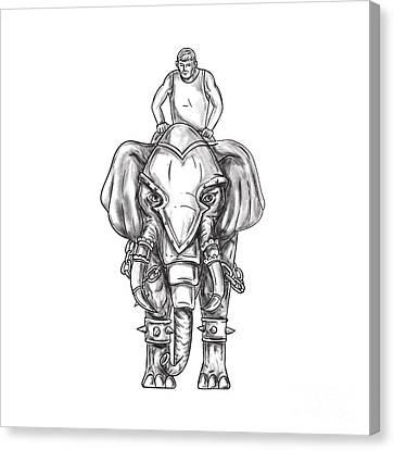 War Elephant Mahout Rider Tattoo Canvas Print by Aloysius Patrimonio