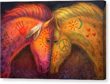 Western Canvas Print - War Horse And Peace Horse by Sue Halstenberg