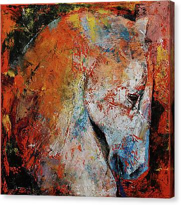 Medieval Canvas Print - War Horse by Michael Creese