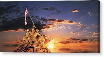 War Memorial At Sunrise, Iwo Jima Canvas Print by Panoramic Images