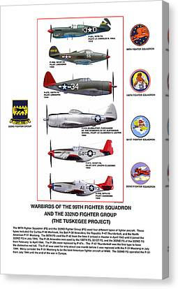 Warbirds Of The 99th Fighter Squadron And 332nd Fighter Group   Tuskegee Project Canvas Print by Jerry Taliaferro