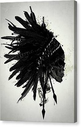 Indian Ink Canvas Print - Warbonnet Skull by Nicklas Gustafsson