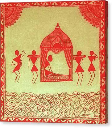 Warli Bride Painting  Canvas Print