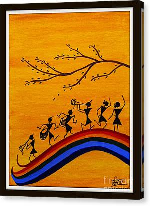 Warli Canvas Print by Smita Sumant