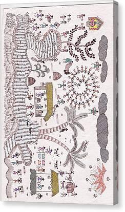 Warli Tribal Scene Canvas Print