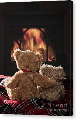 Warm And Cosy Teddies By The Fireside Canvas Print by Amanda Elwell