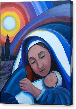 Canvas Print featuring the painting Warm Heart  by Laila Awad Jamaleldin