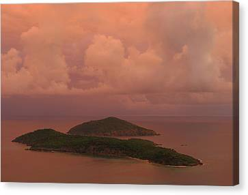 Canvas Print featuring the photograph Warm Sunset Palette Of Inner And Outer Brass Islands From St. Thomas by Jetson Nguyen