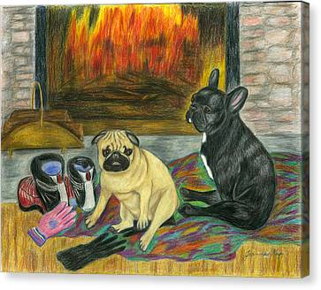 Canvas Print featuring the painting Warming Up By The Fireside by Jeanne Kay Juhos