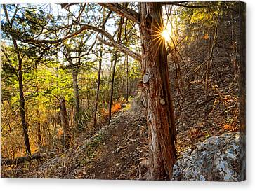 Warmth Of Comfort - Blowing Springs Trail In Bella Vista Arkansas Canvas Print by Lourry Legarde