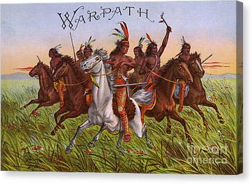 Labelled Canvas Print - Warpath Vintage Fruit Box Label by Edward Fielding