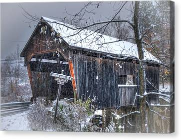 Warren Covered Bridge In Snow - Warren Vermont Canvas Print by Joann Vitali