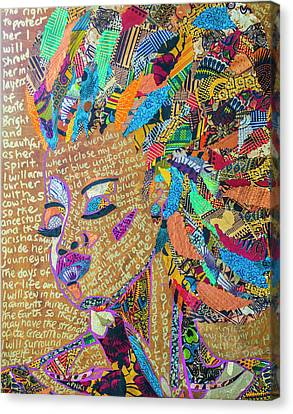 Canvas Print featuring the tapestry - textile Warrior Woman by Apanaki Temitayo M