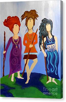 Warrior Woman Sisterhood Canvas Print by Jean Fry