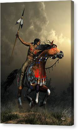 Medicine Canvas Print - Warriors Of The Plains by Daniel Eskridge