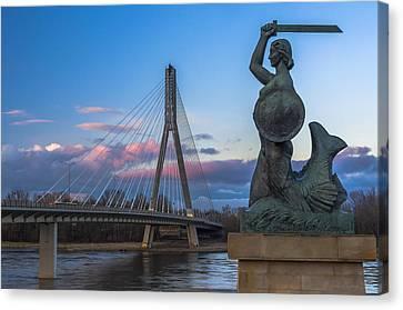 Warsaw Mermaid And Swiatokrzyski Bridge On Vistula Canvas Print by Julis Simo