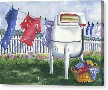 Washing Machine Canvas Print - Wash Day Blues by Marsha Elliott