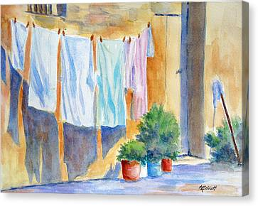 Wash Day In Marsaxlokk Canvas Print by Marsha Elliott